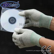Luva de mão anti-estática NMSAFETY revestido branco pu em topos de dedo
