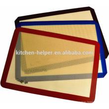 China Hersteller FDA LFGB Standard Food Grade Private Label Hitzebeständige Antihaft-Silikon Fiberglas Backmatte