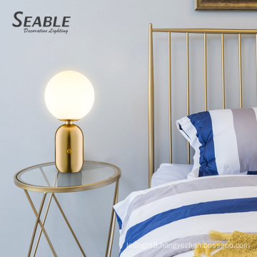 Eye protection gold decorative glass modern nordic decoration bedroom table lamp