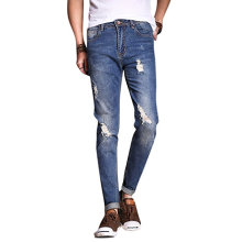 Calças jeans lavadas de rasgado destruídas Vintage azul masculino