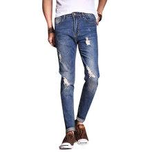Мужские винтажные синие рваные уничтожено промывают джинсы брюки