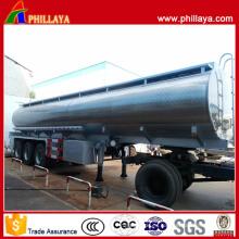 Remolque del tanque del acero inoxidable del transporte del combustible de Tri Axle