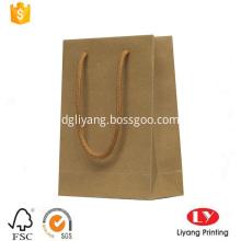 Rigid brown kraft paper carrier shopping bag