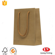 Rigid brown kraft paper carrier shopping bag