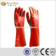 Fabricação de luvas PVC revestido luvas químicas longas luvas químicas