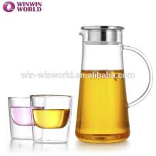 Chá de utensílios de mesa de 1,5 litros que bebe a garrafa de vidro clara com tampa do metal