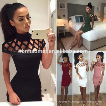 2017 nueva moda top sell paquete de la cadera de las mujeres se visten de color sólido de manga corta sexy rojo caliente de las mujeres sexy vestido de fiesta
