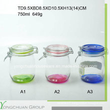 500ml 750ml 1000ml Glass Storage Jar with Clip Glass Lid Wholesale Canister