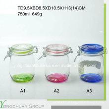500ml 750ml 1000ml Frasco de armazenamento de vidro com tampa de vidro clip Atacado Canister