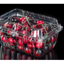 Cherry PET plastic tray with lid