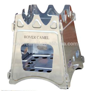 Rover Camel inox dobrável madeira fogão portátil de acampamento ao ar livre cozinha fogão de madeira 520g