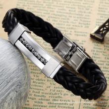 2015 neues Edelstahldiamantarmband klassisches Leder geflochtenes Armbandschmucksacheart und weiseentwurf PH796