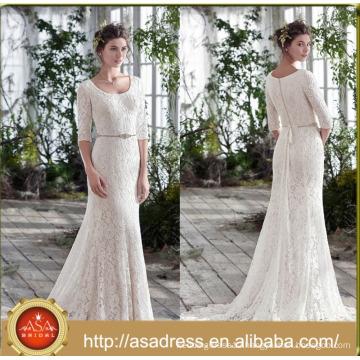 ASWY14 half sleeves scoop neck lace trumpet wedding dress mermaid