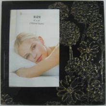 Black With Golden Flower Glass Photo Frame