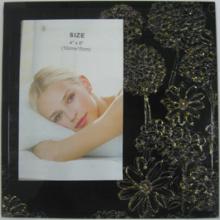 Black With Golden Flower Glass Photo Frame