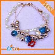 Triple perla Multi hilos fantasía granos plásticos pulsera