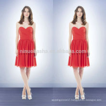 2014 Coral Colored Sheath Bridesmaid Dress Sweetheart Knee-Length Short Chiffon Prom Gown With Criss-Cross Pleats Bodice NB0739