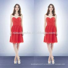 Кораллового цвета платье 2014 платья невесты милая колен короткие шифон Пром платье с крест-накрест складки лиф NB0739