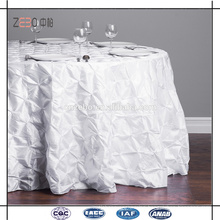 "Fashionable Crushed Taffeta Wedding Used 132"" Round White Table Cloth"