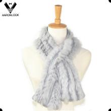 Женщины высокого класса роскошный вязание кролика мехом шарф