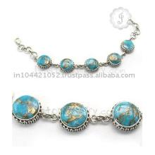 Proveedor al por mayor para la pulsera de plata plateada oro hermoso del oro de la turquesa