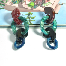 wholesale funky chunky thick unique chain link stud ear jewelry for women acrylic designer inspired earrings