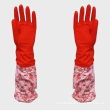 Home Use Red Thick Latex Gloves With Cotton Cloth And Pvc Cloth Inside