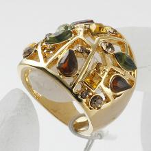 18K Gold Plated Austrian Crystal Rhinestone wedding rings Luxury Gemstone Rings
