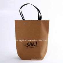 Custom Logo Printing Quality Recycled Brown Kraft Paper Carrier Bags