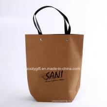 Пользовательские качества печати логотипа Переработанные сумки коричневой бумаги Kraft Paper Carrier
