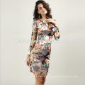 Precio barato mangas largas de las mujeres vestidos Prom Tie Dye Print Bodycon Midi Ladies vestidos de oficina