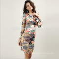 Cheap Price Long Sleeves Women Dresses Prom Tie Dye Print Bodycon Midi Ladies Office Dresses