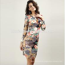 Preço Barato Mangas Compridas Mulheres Vestidos Prom Tie Dye Imprimir Bodycon Midi Vestidos de Escritório Das Senhoras