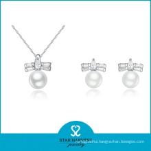 2015 White Freshwater Silver Pearl Jewelry Set for Lady (J-0067)