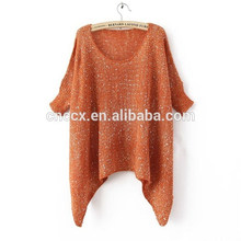 mulher solta camisola pullover longa com lantejoulas