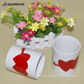 made by sublimation vacuum machine ceramic white mug with heart color changing