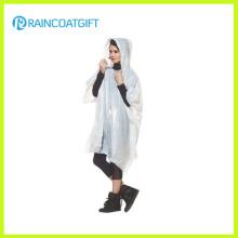 Erwachsene wiederverwendbare weiße PVC Regen Poncho Rpe-045