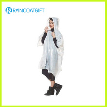 Adult Reusable White PVC Rain Poncho Rpe-045