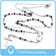 2016 мода Бекхэм крест Черный и сталь два тона 3мм бусины четки, религиозные ювелирные изделия из нержавеющей стали кулон ожерелье