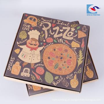 Caixa de papel ondulado dobrável de pizza