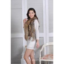 2016 El nuevo diseño hizo punto la señora verdadera invierno Spring del chaleco de las mujeres de la piel del conejo