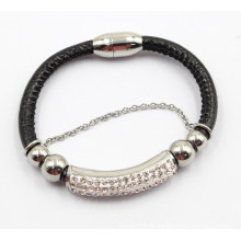 Heißer Verkaufs-Magnet Verbinden Sie echtes Leder u. Edelstahl-Armband