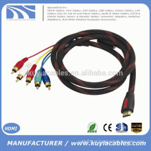 1.5m / 5ft HDMI Masculino para 5 RCA RGB Audio Video Cabo Componente AV com Nylon