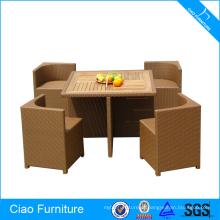 Conjunto de mesa de jantar de madeira móveis Rattan