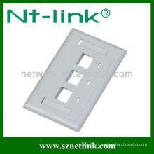 Plaque de face de câble à un seul groupe de 3 ports
