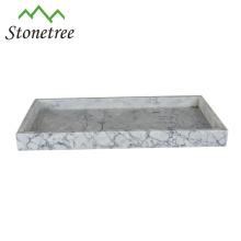Plateau de service élégant en gros en granit noir et blanc et en marbre pour hôtel