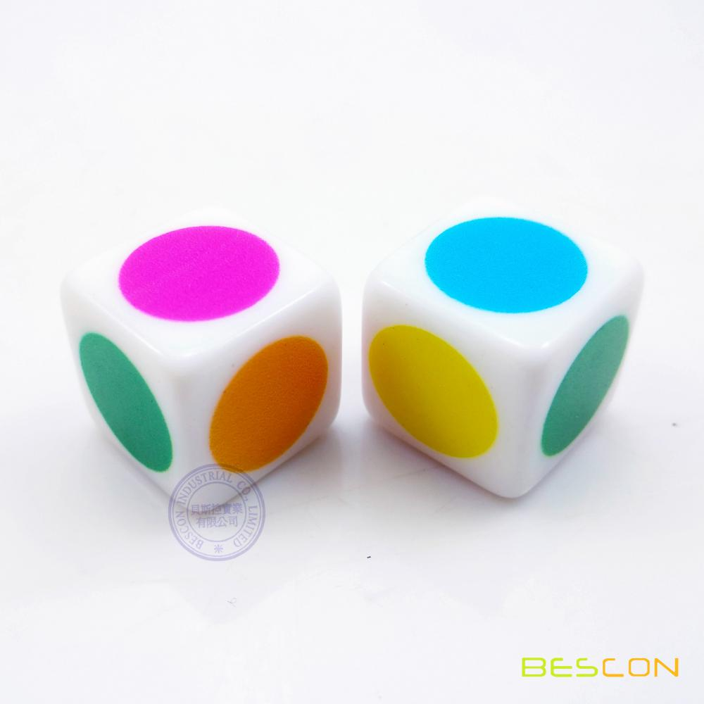 Colorful big dot dice, rainbow dot die