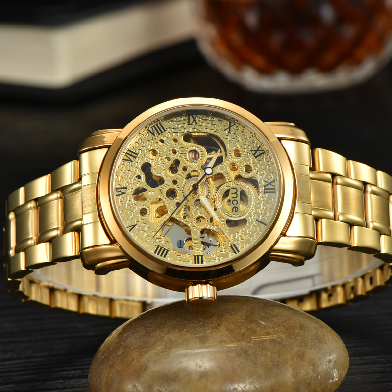 Gold 3 ATM Waterproof Mechanical Skeleton Watch
