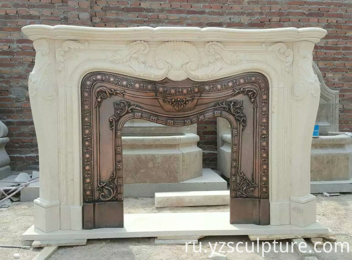 Egypt Cream fireplace mantel