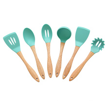 6pcs silicone kitchen utensil set with oak handle